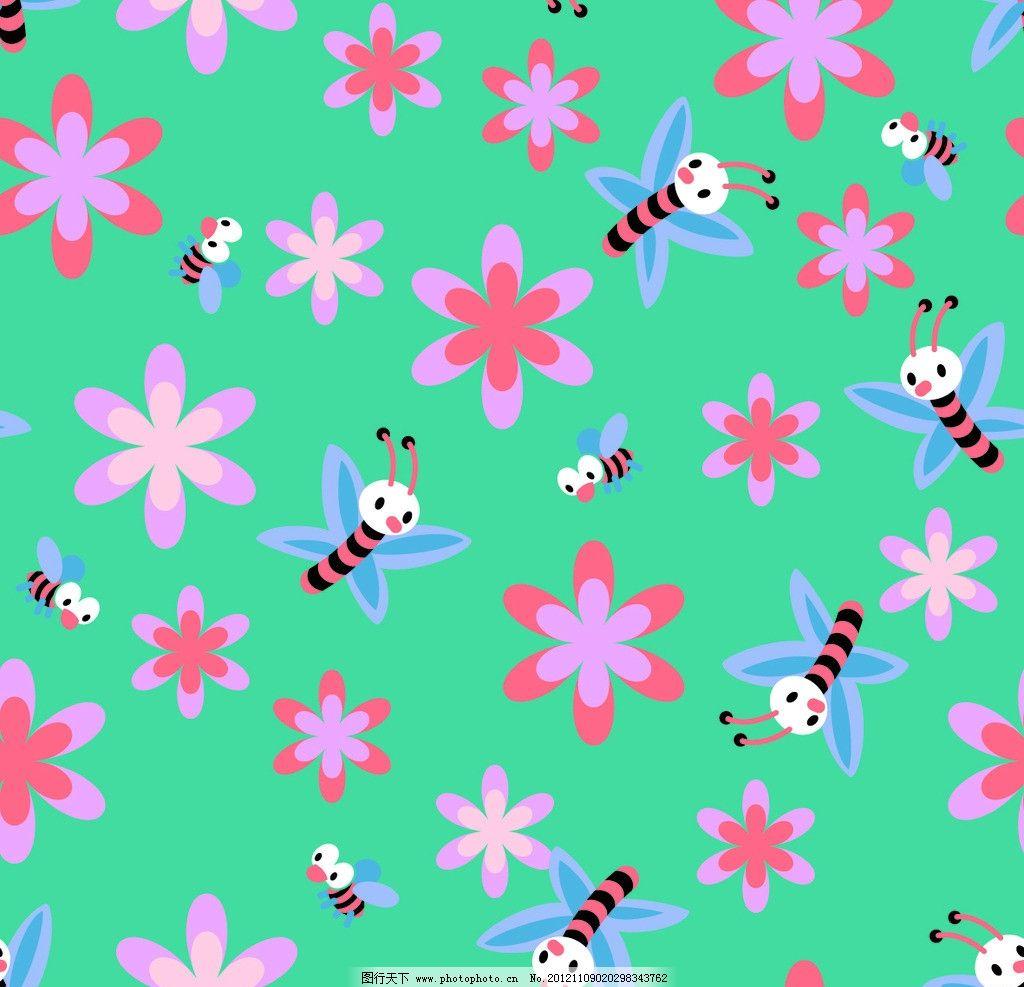 蜜蜂底纹 卡通 动物 花纹 背景 可爱 设计图案 童装图案 印花底纹