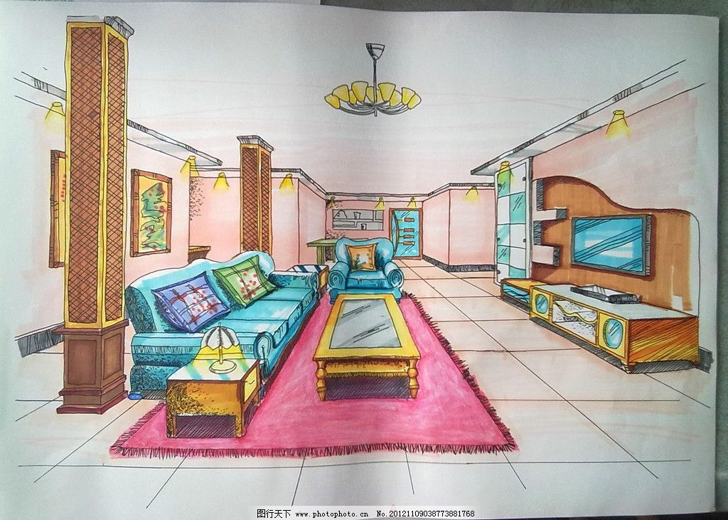 室内空间图 蓝色皮革沙发 木纹柱子 手绘 美术绘画 摄影