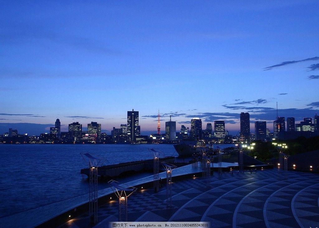 海边夜景 海边 夜景 灯光 黄昏 城市 外景风景 自然风景 自然景观