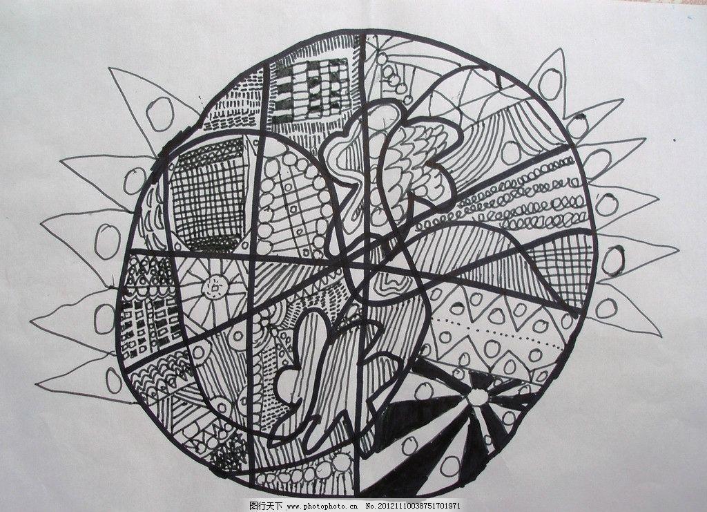 圆形线描装饰画 黑白画 儿童画 线描 圆形 绘画 设计 太阳 各种线条