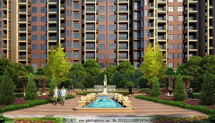 住宅楼公园建筑效果图图片