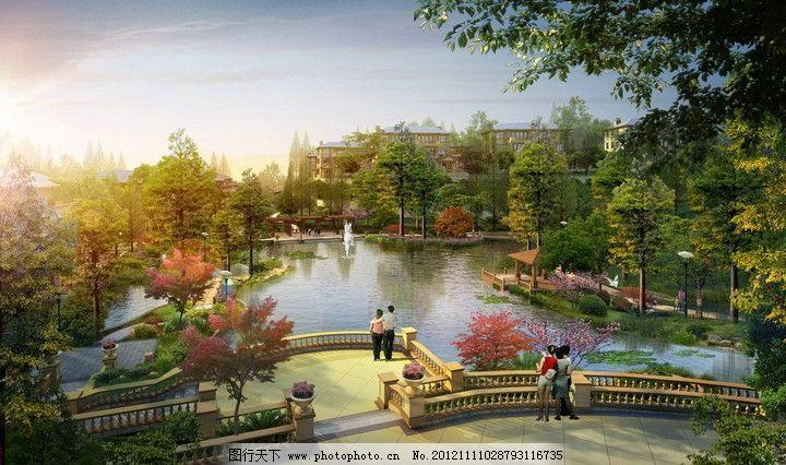 庄园 世外桃源 景色 景观 效果图 设计图 3d设计 渲染图 工程图 园林