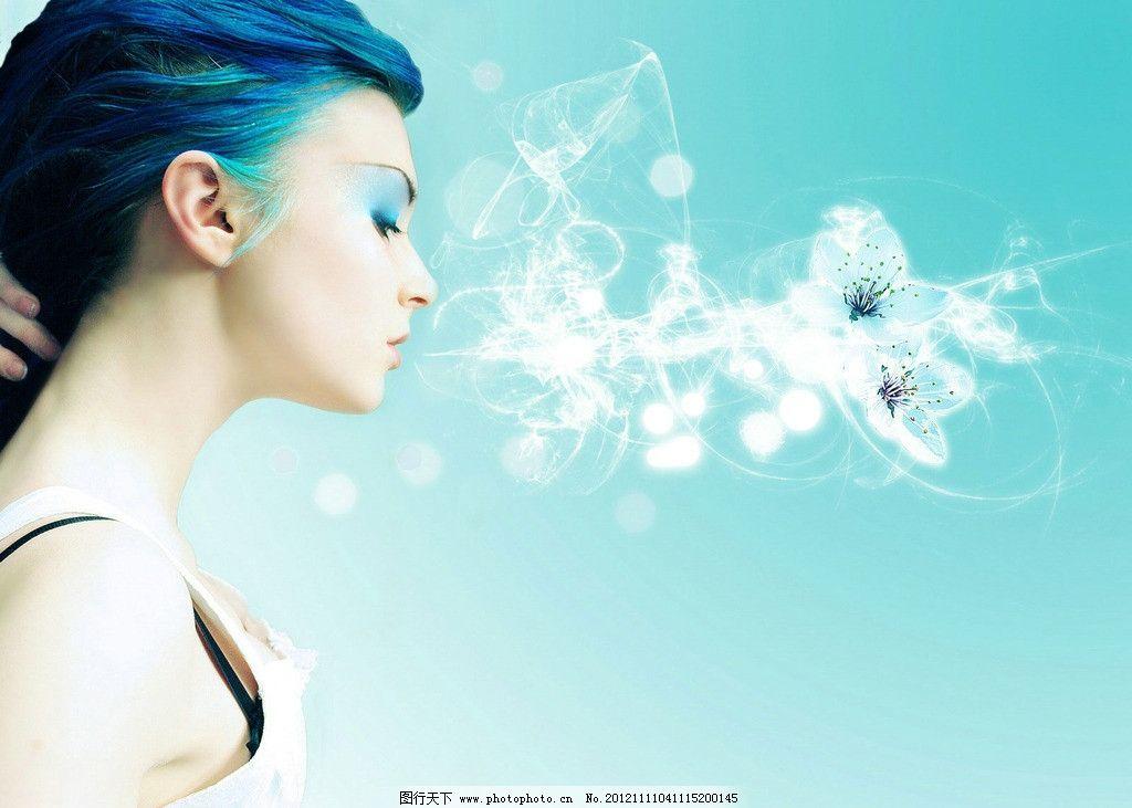 蓝色 背景 线条 花朵 素雅 唯美 女性 模特 侧面 女性妇女 人物图库