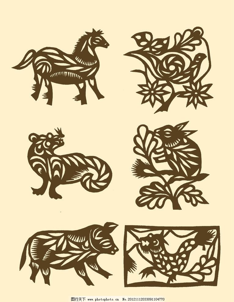 十二生肖 剪纸 民间剪纸 剪纸图案 图案 纹样 传统 psd分层素材 源