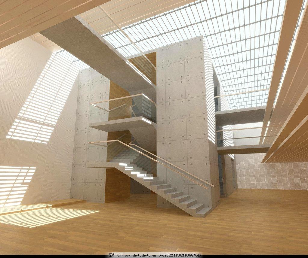 室内效果图 楼梯 工装 办公楼