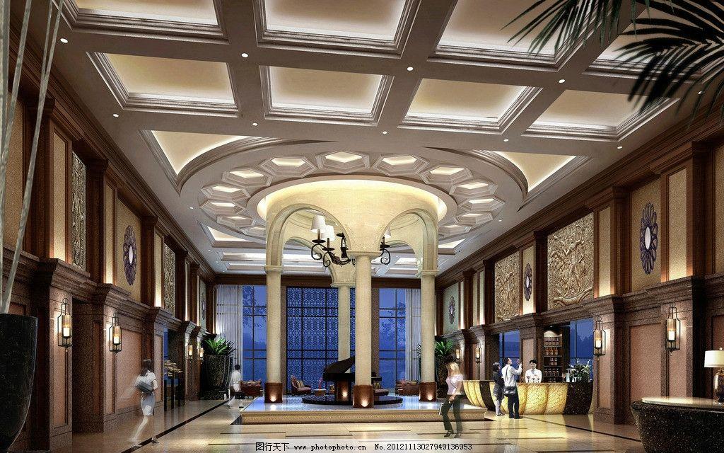 酒店大堂设计 酒店 大堂 设计图 吊顶 巴洛克 欧式 沙发 钢琴 水池图片