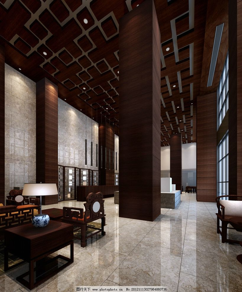 酒店大堂設計 酒店 大堂 設計 休息處 沙發 地磚 中國風 木結構 室內