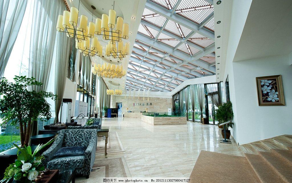 酒店大堂设计 沙发 盆栽 地砖 软装 吊顶 吊灯