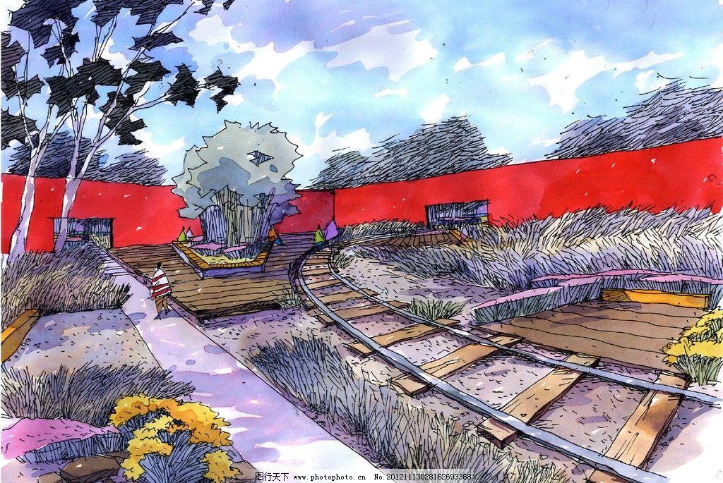 公园 自然风光 外形 彩绘 环境设计 设计 手绘景观 彩铅 马克笔 植物