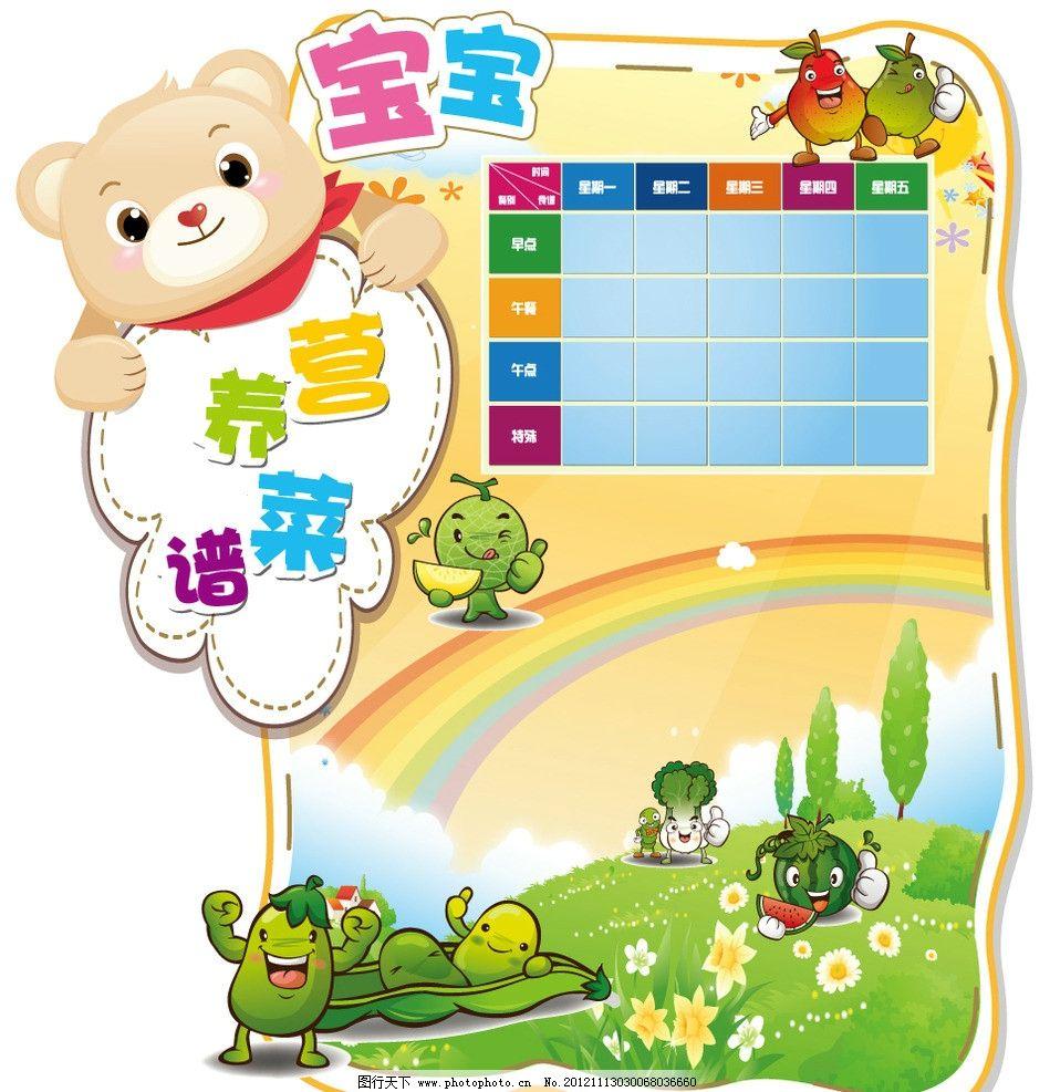 菜谱 海报 卡通海报 校园文化 文化墙 pvc墙面 卡通儿童 蔬菜 幼儿园