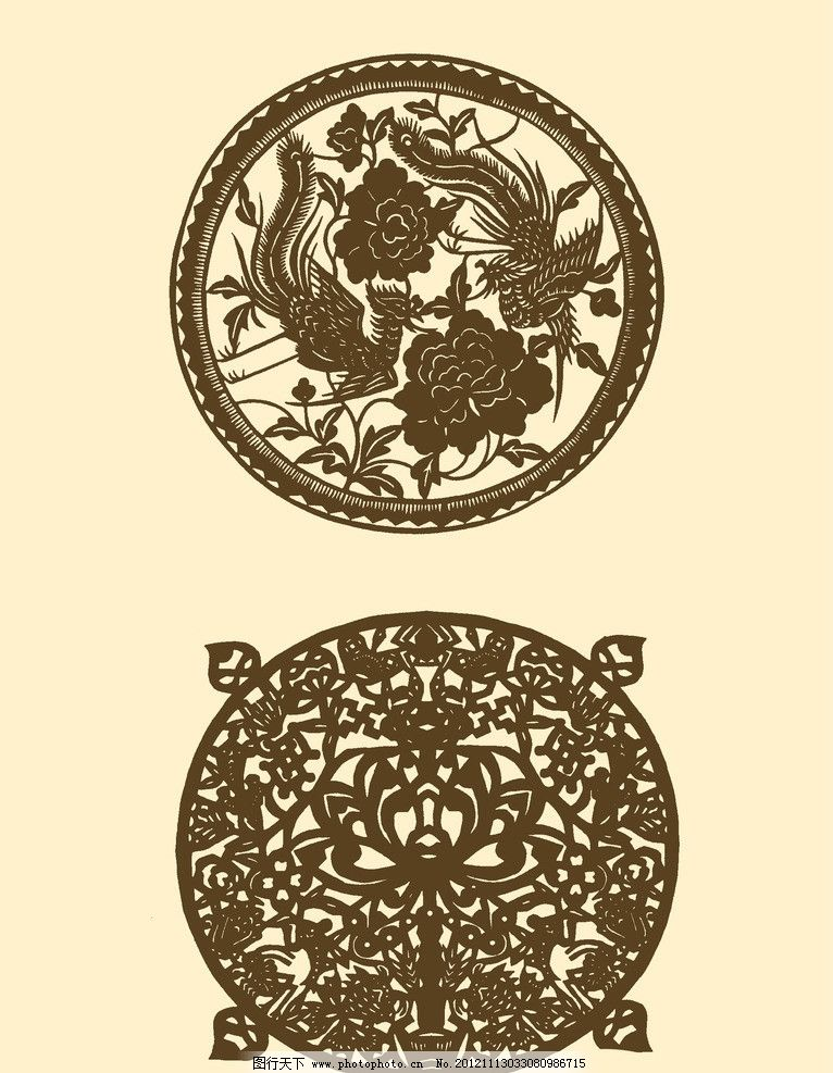 团花 剪纸 民间剪纸 剪纸图案 纹样 传统 源文件