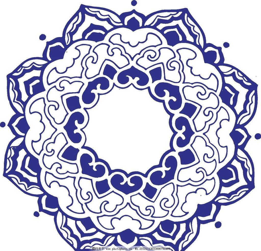 花矢量 植物矢量 青花矢量图 青花瓷盘 装饰画 装饰 家居 花纹图案