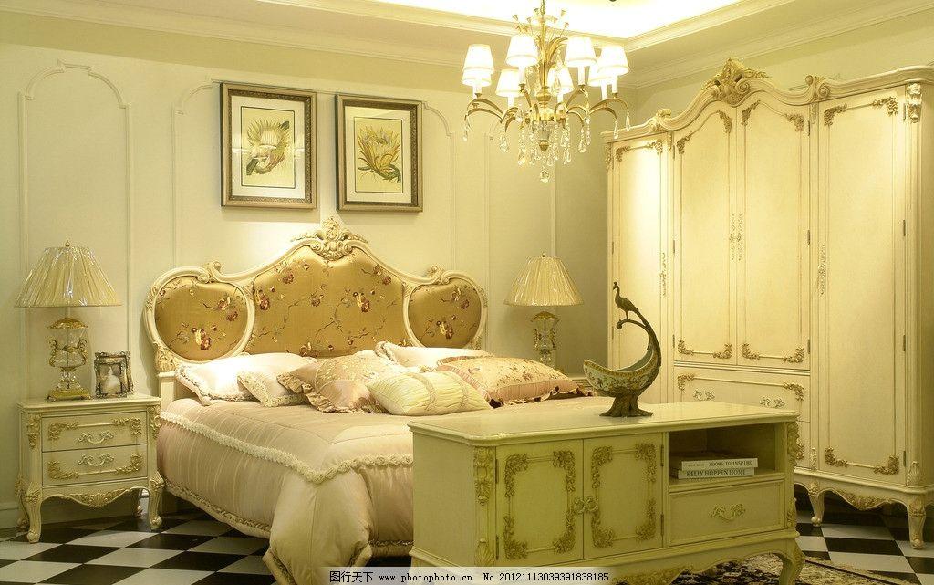 欧式卧室 床 柜子 床头柜 台灯 衣柜 吊灯 室内摄影 建筑园林