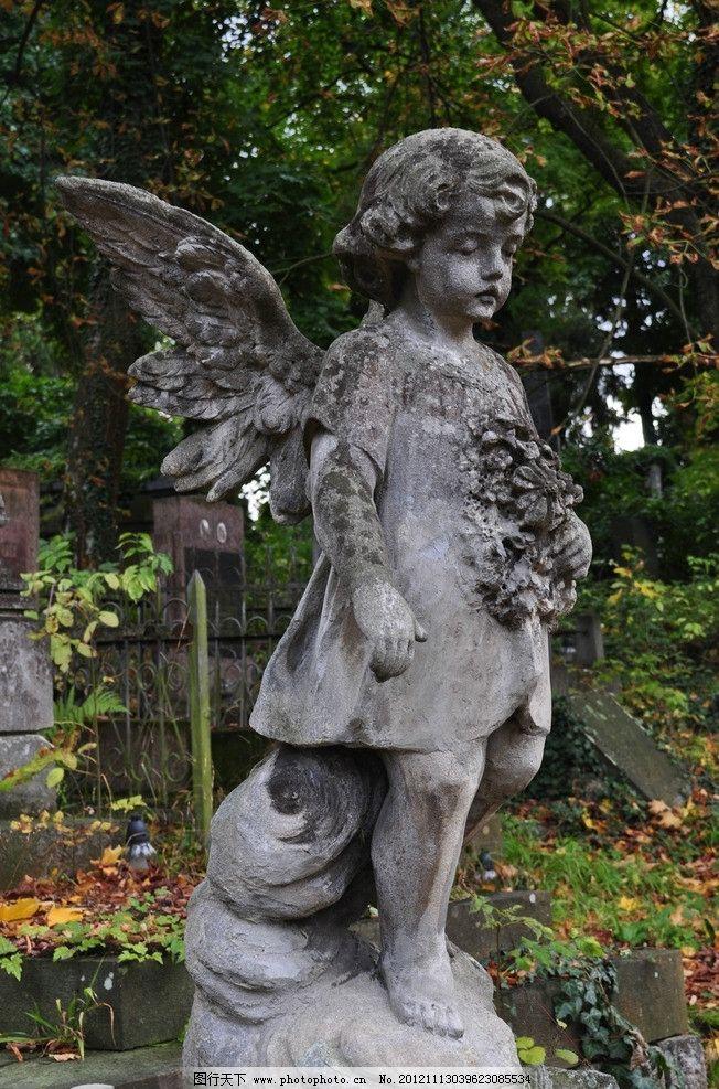 小天使雕像 天使 小天使 翅膀 雕塑 雕像 石像 石雕 石制品 艺术品图片