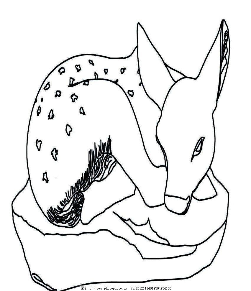 梅花鹿 小鹿 雕像 鹿 线条画 白描 其他 文化艺术 设计 300dpi jpg