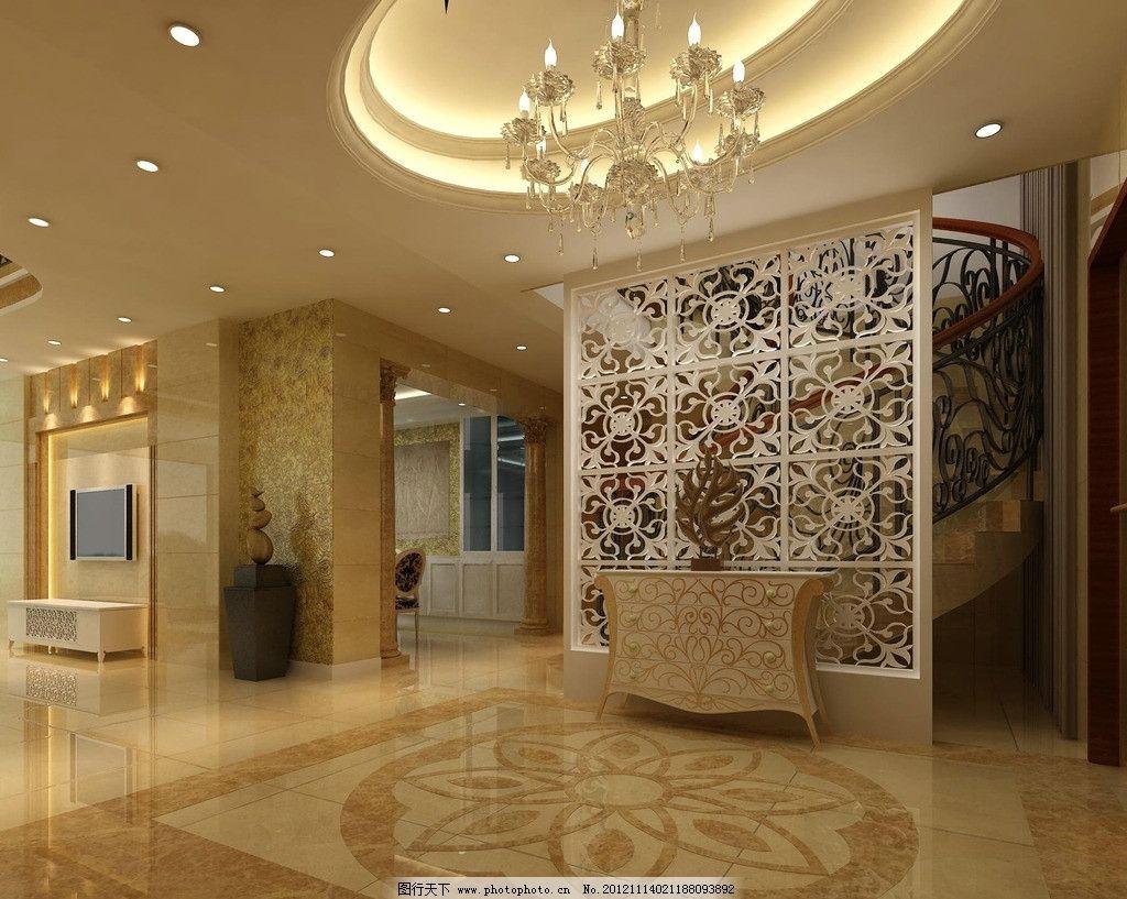 欧式大厅效果图 欧式 大厅 效果图 欧式风格 室内效果图 灯光 材质