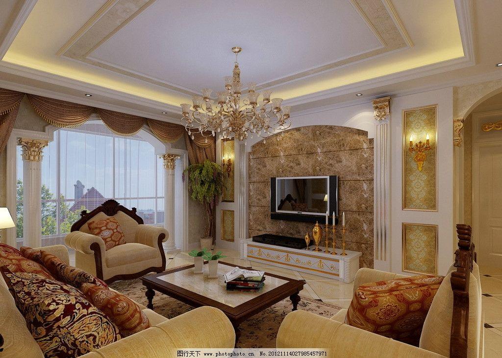 电视背景墙 效果图 装修效果图 图纸 别墅 样板房 简欧 白色欧式