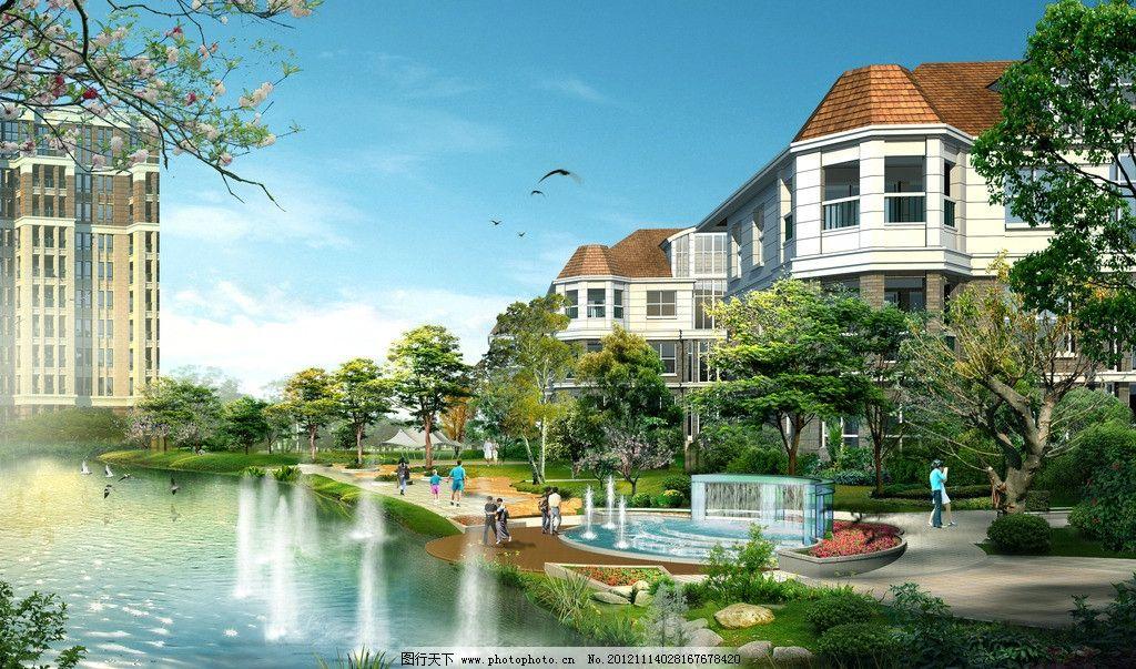 小区景观效果图 漳州 十里蓝山 小区 景观 水景 喷泉 绿化 植物