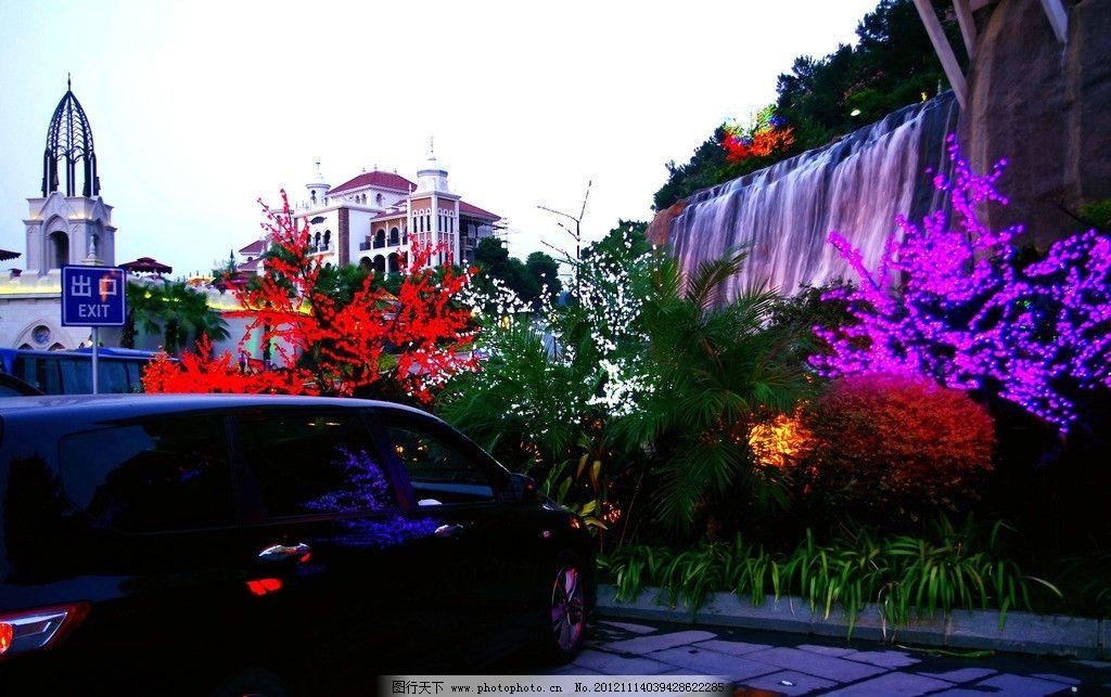 夜景 客天下 梅州 欧式建筑 酒店 广场 彩灯树 树木 山坡 高山流水