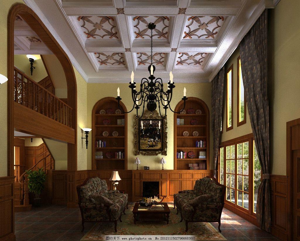 客厅壁炉效果图 欧式 吊灯 窗户图片