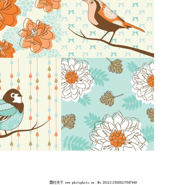 手绘花纹背景矢量图免费下载 背景图 花卉 矢量素材 手绘图 小鸟 小鸟