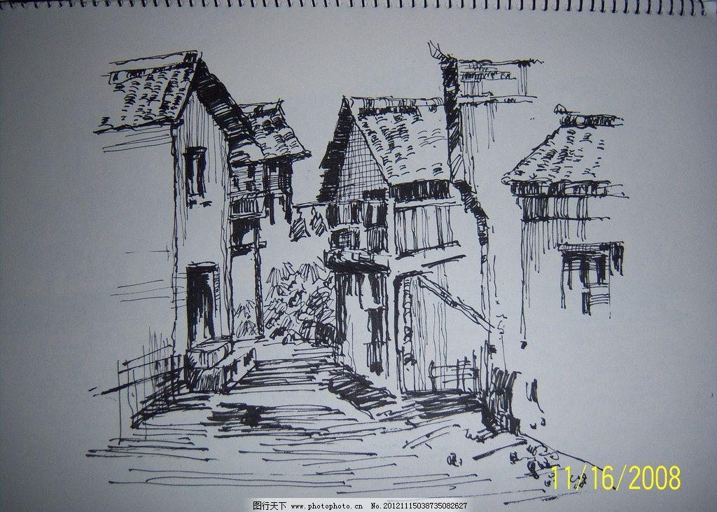 手绘写生 手绘 建筑 房子 美术绘画 文化艺术 摄影 480dpi jpg