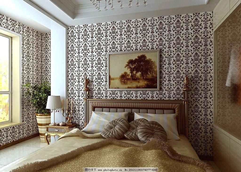 卧室 床 抱枕 壁画 墙纸 欧式 水晶吊灯 植物 窗户