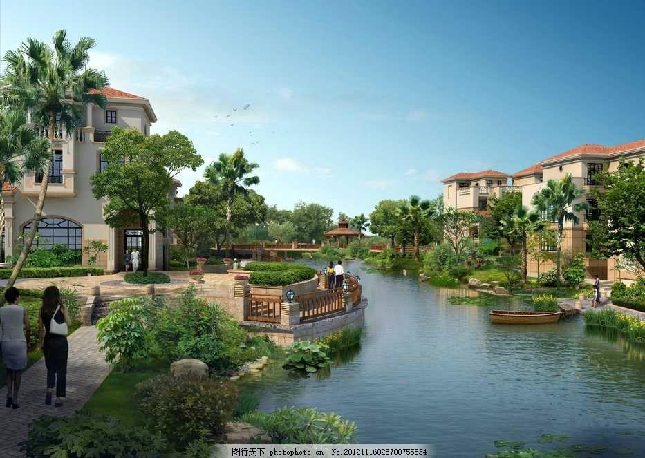 园林设计  水景别墅公园 别墅区 联排别墅 独栋别墅 花园 公园 庭院
