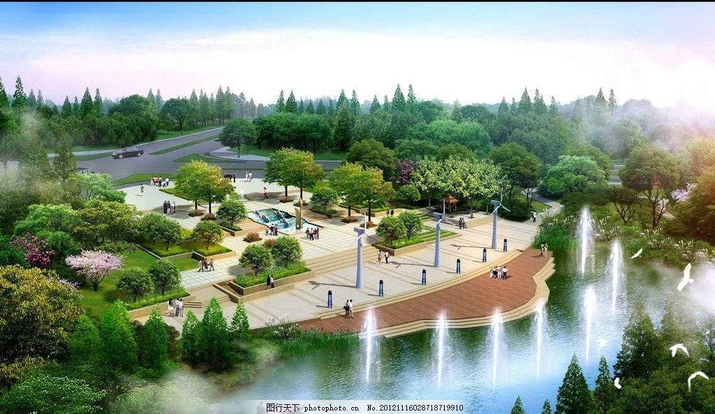 城市绿化公园喷泉水景 鸟瞰图 俯视 小河 河流 小溪 自然 旅游