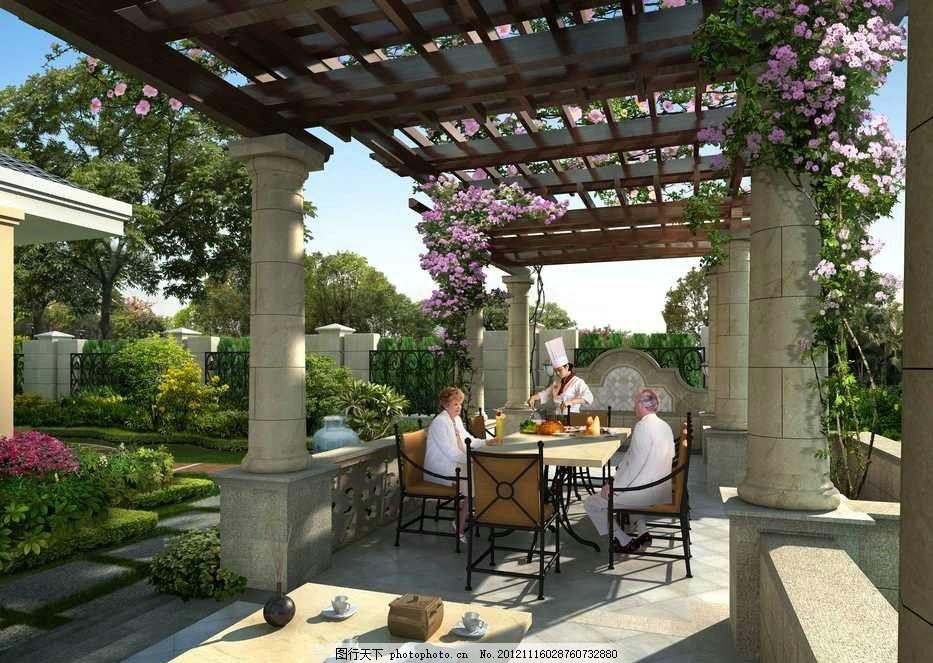 设计图库 环境设计 园林设计  高级西式餐厅 西式餐厅 西餐厅 厨师