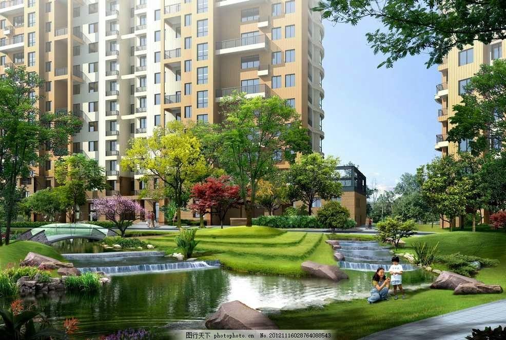 环境设计 园林设计  高档住宅小区中心花园 住宅区 小区 居民区 花园