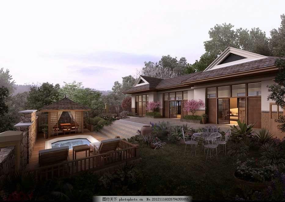 中式别墅大宅 中国 中国风 古典建筑 古典园林 中式别墅 游泳池 凉亭