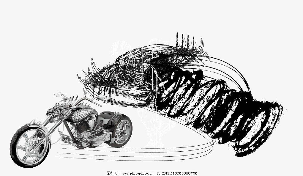 炫酷摩托 底纹 墨色 黑白 花纹 线条 图案 摩托设计 矢量 极速