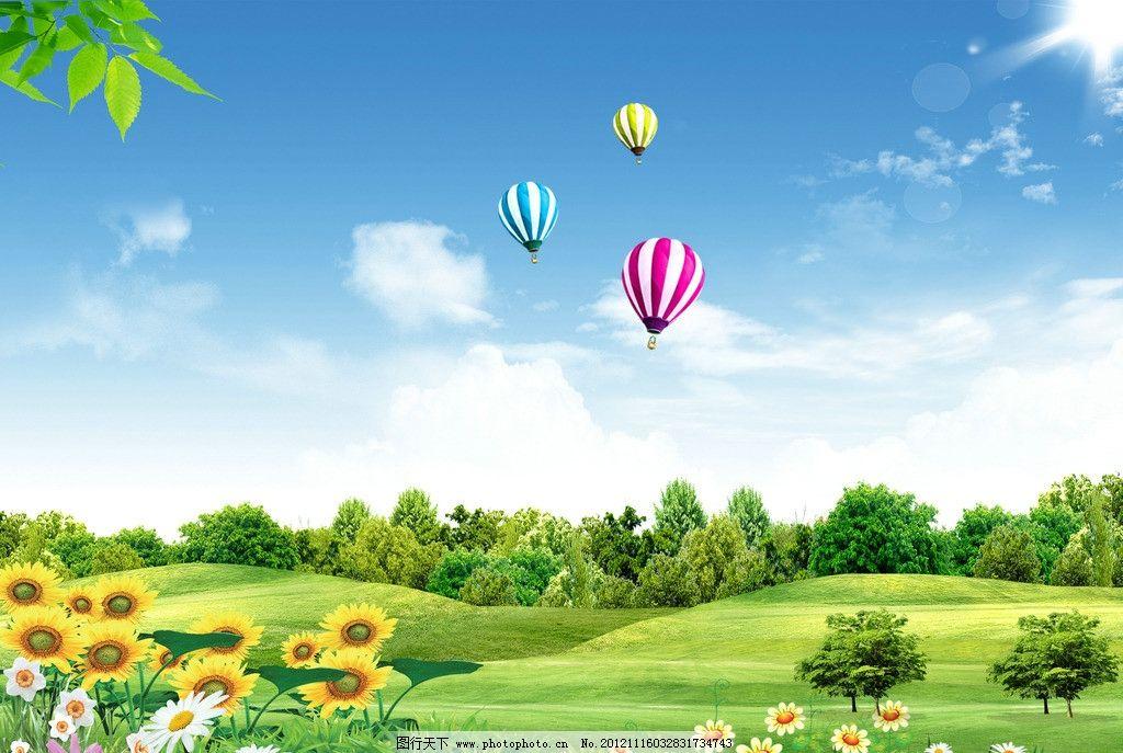 蓝天白云 草地 向日葵 树 树叶 阳光 树丛 白花 鲜花 小花