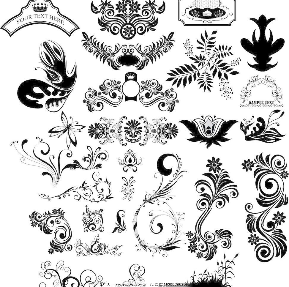 欧式十字花植物底纹