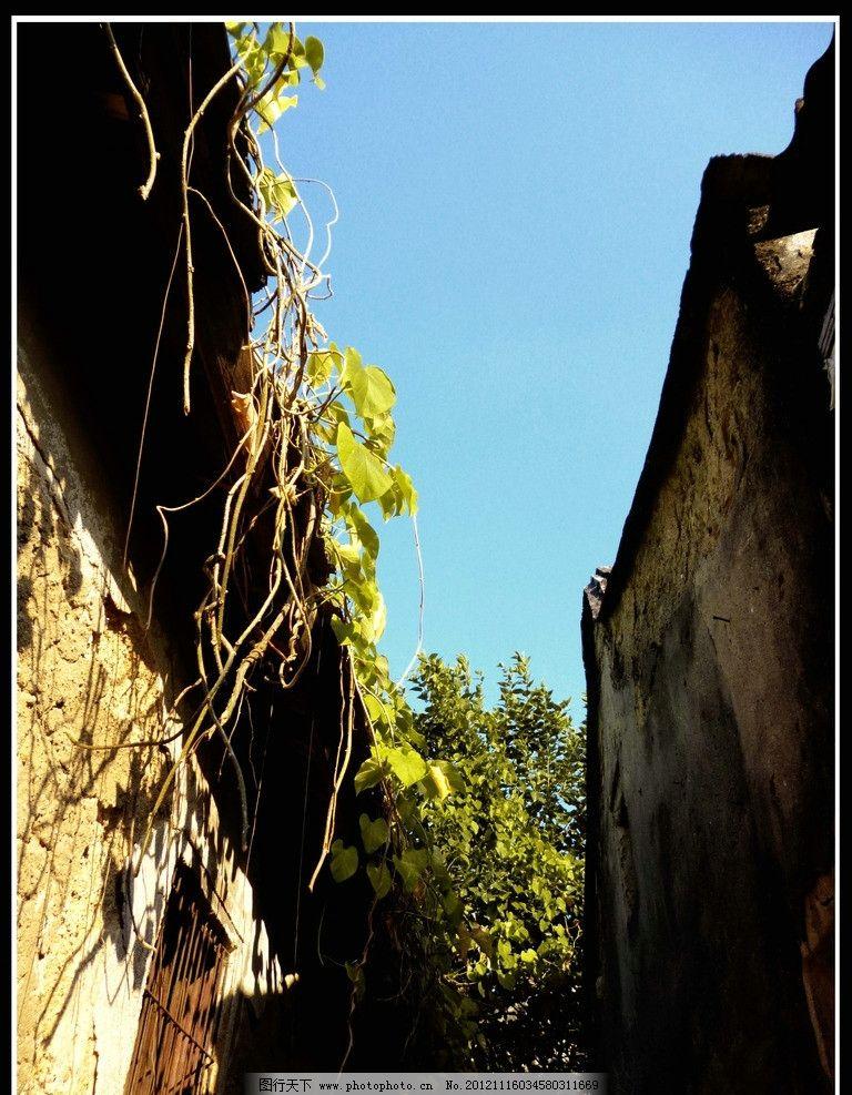 老房子 秋天 蓝天 摄影