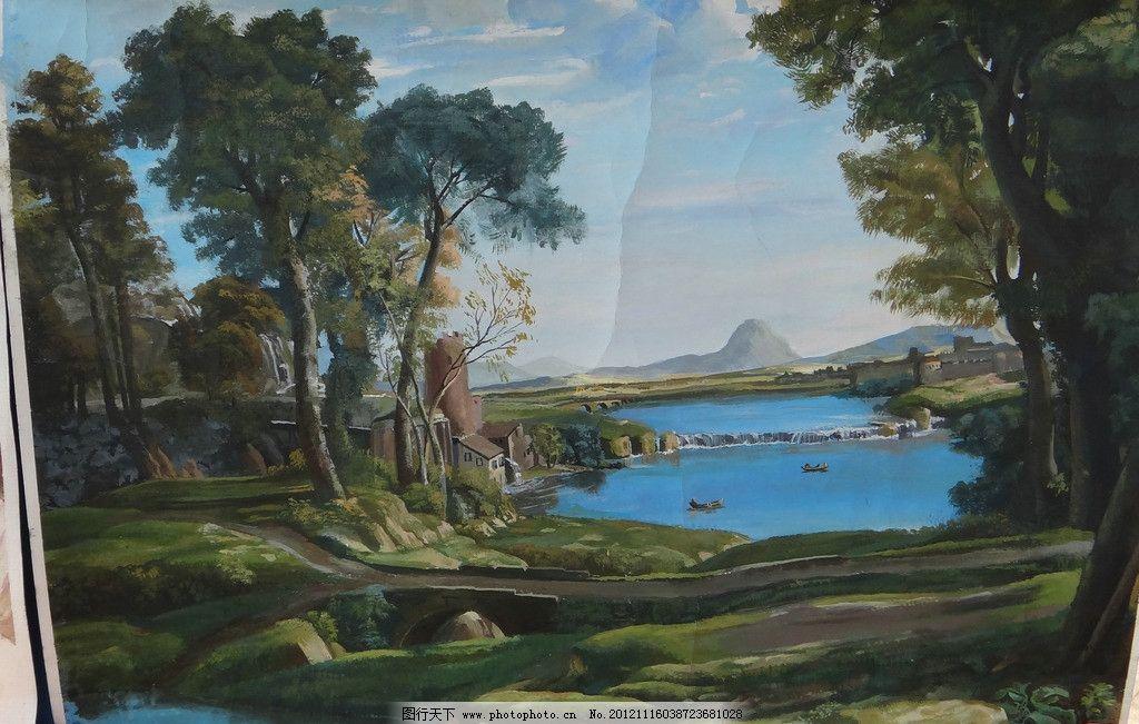 绘画风景 风景 山水 树木 水树林 美术绘画 文化艺术 摄影 72dpi jpg