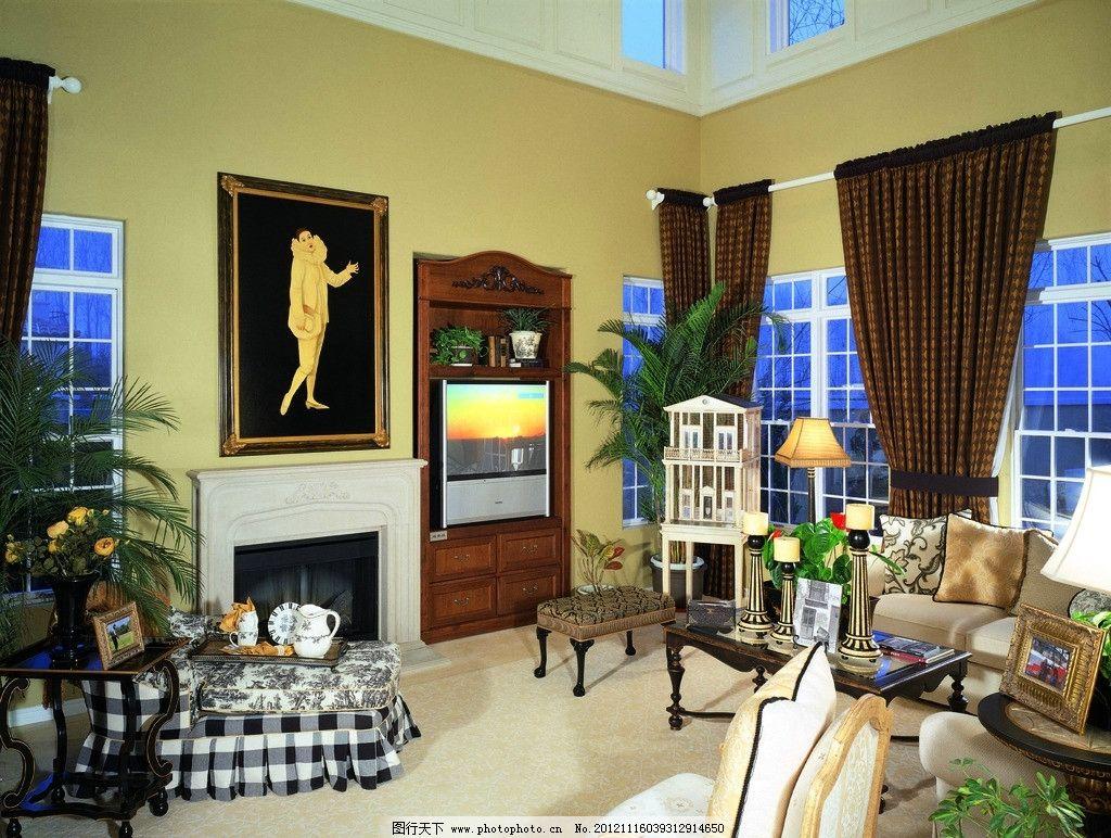 壁炉 脚垫 窗户 窗帘 墙画 地毯 植物 装饰品 摆件 欧式风格 室内摄影
