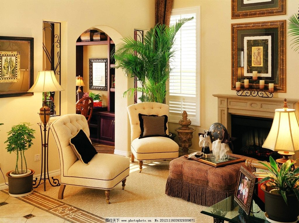 客厅 沙发 茶几 墙画 壁炉 台灯 植物 室内 座灯 欧式风格