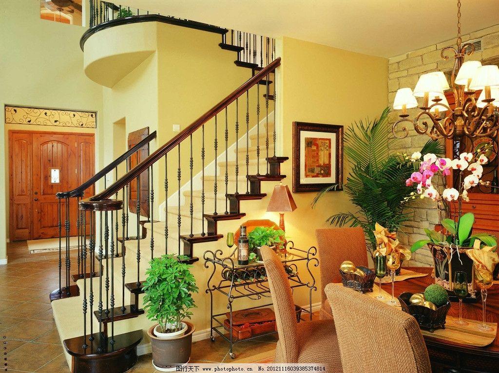 别墅 餐桌 椅子 楼梯 吊灯 盆栽 欧式风格 门 室内摄影 建筑园林 摄影