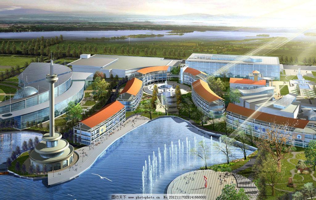 广场效果图 广场 水景 喷泉 水        规划 蓝图 3d效果图 景观设计