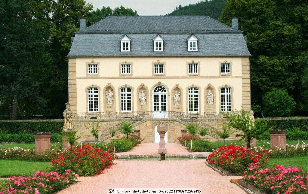 古典式庄园 欧洲 欧式 古典 庄园 别墅 洋房 洋楼 雕塑 雕像 花园