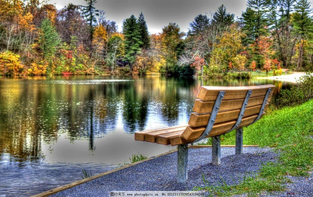 公园长椅 公园风光 园林风景 长椅 椅子 秋天 秋季 湖泊 湖水 长凳