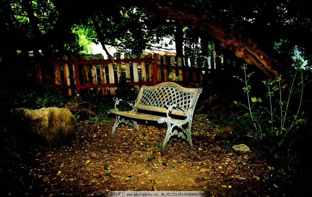 园林风景 椅子 秋天 秋季 落叶 枯叶 公园长椅 长凳 树木 长椅素材