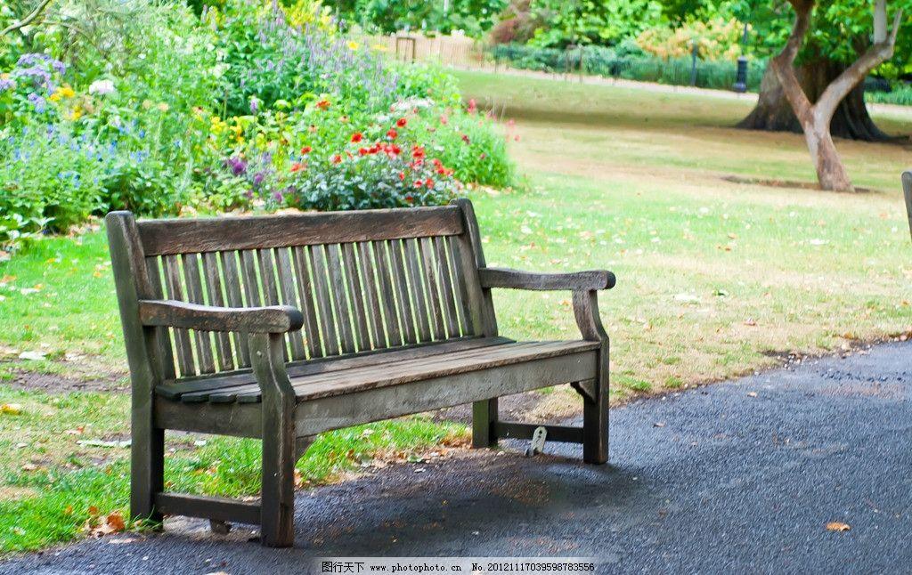 欧洲公园白木长椅