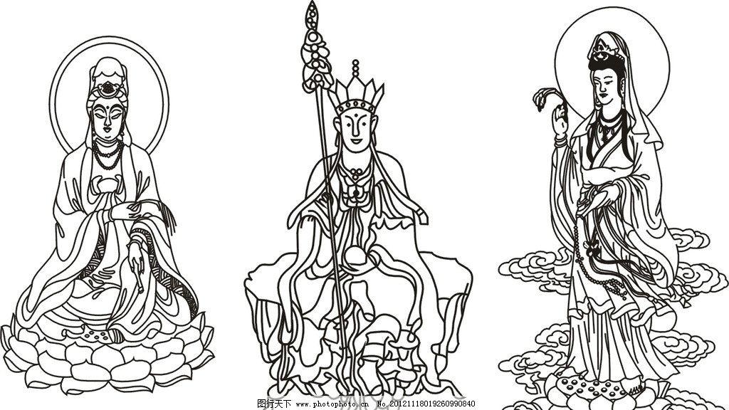 手绘佛教建筑图片
