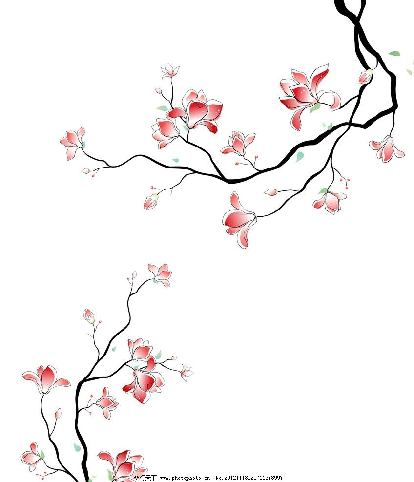 石榴花 花朵 树枝 红花 手绘花 简洁 对角 移门 时尚 设计素材 移门图