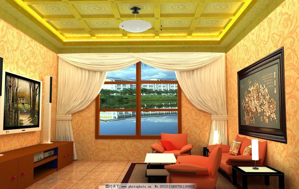 别墅客厅效果图图片,吊顶 背景墙 窗户 窗帘 吊灯-图