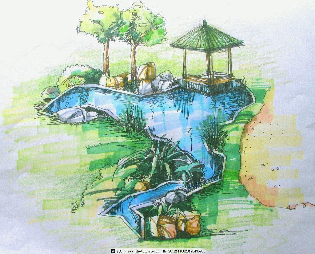 手绘景观图 马克笔 园林 亭子 绿化 池塘