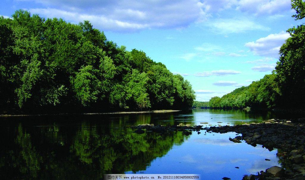 山水风景 水面 倒影 绿树 白云蓝天 茂盛 自然风景 自然景观